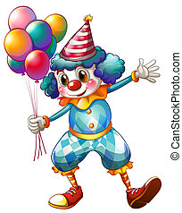 A clown holding balloons - Illustration of a clown holding...