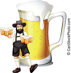 A man with a glass full of beer