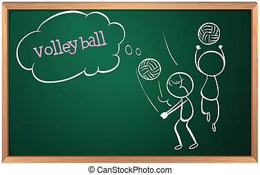 A board with a sketch of two volleyball players
