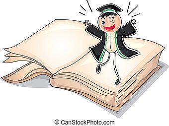 A graduate above a book