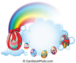 Easter eggs above the clouds - Illustration of the easter...