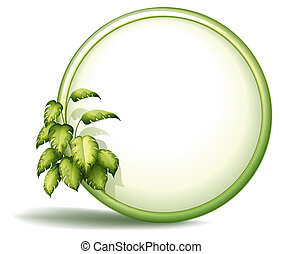 A round empty template with plants - Illustration of a round...