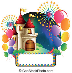 A castle with balloons and an empty signage - Illustration...
