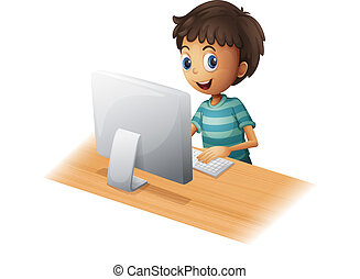 A boy playing computer - Illustration of a boy playing...