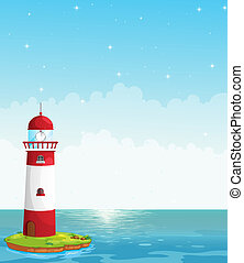 A lighthouse in the middle of the sea - Illustration of a...