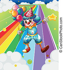 A clown with balloons at the colorful street