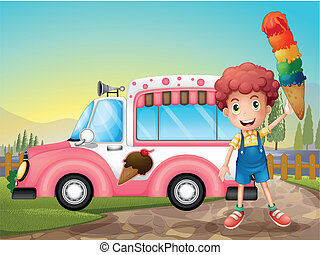 A boy with icecream and the pink car