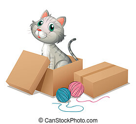 A cat inside the box - Illustration of a cat inside the box...