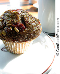 Cranberry Muffin - Whole wheat, cranberry muffin with a mug...