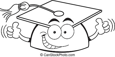 Cartoon graduation cap giving thumb - Black and white...