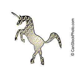 Unicorn abstract gold and black