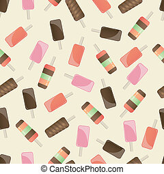Different popsicles on brown background