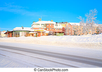 Kiruna Cityscape Transportation Center in Winter Lapland...