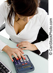 high angle view of female accountant in an office