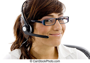 close up of smiling service provider on an isolated...