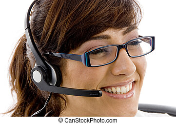 close up of smiling service provider on an isolated white...