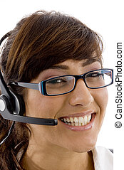 close up view of smiling service provider with white...