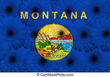 stylized flag of us state of montana with gerbera daisy...