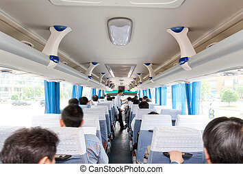 And passengers inside the bus - The internal bus, filled...