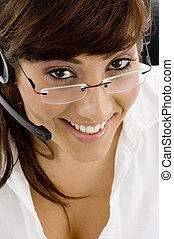 high angle view of smiling female with headset