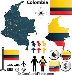Colombia map - Vector of Colombia set with detailed country...