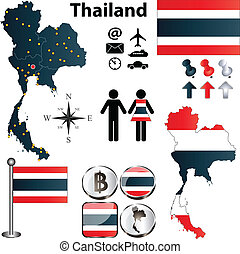 Map of Thailand - Vector of Thailand set with detailed...