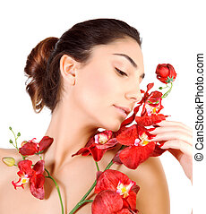 Cute female with red orchid