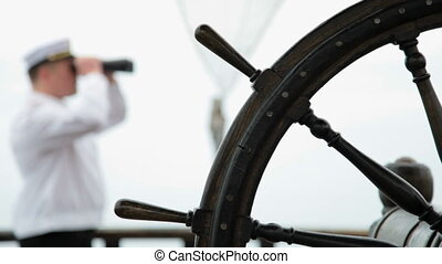 Wooden ship steering wheel - wooden ship wheel in the...
