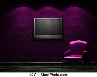 Alone chair with LCD tv in dark minimalist interior
