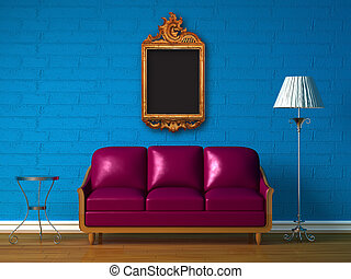 Purple couch, table and standard lamp with picture frame -...