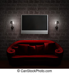 Red couch with LCD tv and sconces in minimalist interior