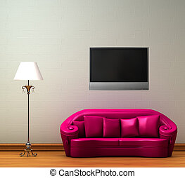 Pink couch with standard lamp with LCD tv on the wall in...