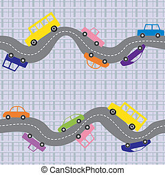 Seamless road background - Seamless pattern with curvy road...