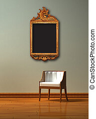 Alone chair with antique frame in minimalist interior -...