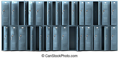 School Lockers Ransacked Front - A perspective view of a...