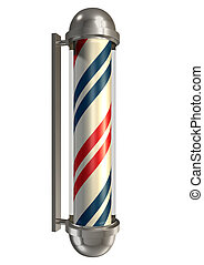 Barbers Poll Isolated - A regular vintage barbers pole in...