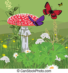 glade with fly agaric - landscape with butterflies and fly...