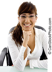 front view of smiling businesswoman in an office