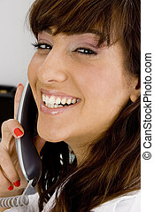 close up view of smiling businesswoman  in an office