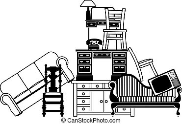 Pile of furniture - Illustration of a pile of furniture...