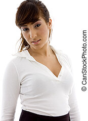 waist up view of female executive on an isolated white...
