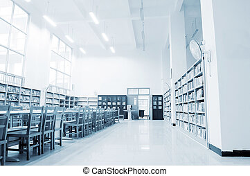 Library shelves, a large number of books.