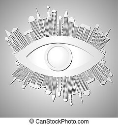 Abstract background with eye and buildings