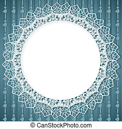 White lace doily on blue background with vertical elements