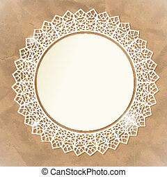 White lace doily on paper an background