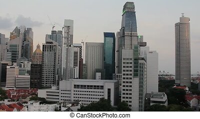 Singapore City Pano View Closeup - Singapore City Skyline...