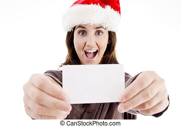woman wearing christmas hat displaying business card...