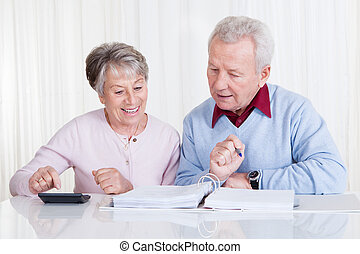 Senior Couple Calculating Budget - Photo of Senior Couple...