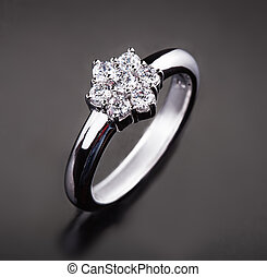 Diamond Ring - Close-up Of Diamond Ring Over Black...