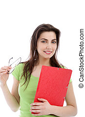 Woman with red folder